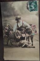 Cpa Fantaisie, Enfants (garçon Et Fille) Avec Moutons Portant Des Paniers De Fleurs, éd GG C°, Série 486/2, écrite 1908 - Fantaisies