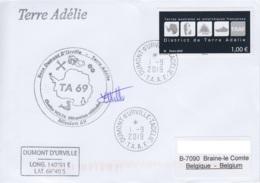 TAAF - Terre Adélie -   Cachet + Sign. Mécanicien Véhicules TA69 - Oblit. Dumont D'Urville 1-9-2019 - Terres Australes Et Antarctiques Françaises (TAAF)