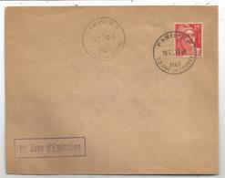 GANDON 15FR ROUGE LETTRE PARIS RP 10.1.1949 1ER JOUR D'EMISSION - 1945-54 Marianne Of Gandon