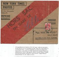 GANDON 15FR ROUGE SEUL LETTRE HORS SAC AMBULANT PARIS A LILLE 1949 TARIF 2EME - 1945-54 Marianne (Gandon)