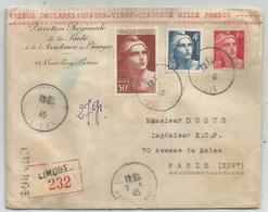 GANDON 50FR +4FR+1FR50 LETTRE CHARGE LIMOGES 7.4.1945 AU TARIF - 1945-54 Marianne De Gandon