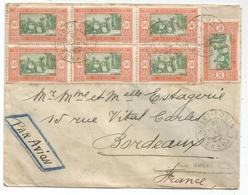 SENEGAL 50C BLOC DE 6+1 LETTRE COVER AVION SAINT LOUIS 31 JUIL 1932 POUR BORDEAUX - Marcophilie (Lettres)