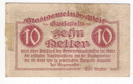 Österreich Austria Notgeld 10 HELLER FS1167I WELS /171M/ - Autriche