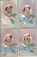 Cartes Anciennes Fantaisies - Amour - Couple - 1er Mai - Lot De 4 Cartes Luxe - Couples