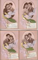 Cartes Anciennes Fantaisies - Amour - Couple - 1er Mai - Lot De 6 Cartes Luxe - Couples