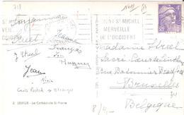 4f.Marianne De GANDON Sur Carte Pour La BELGIQUE Oblitéré MONT ST MICHEL Flamme - Marcophilie (Lettres)