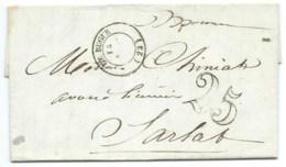 MARQUE POSTALE LE BUGUE DORDOGNE POUR SARLAT / 1852 / TAXE 25 DOUBLE TRAIT - Marcophilie (Lettres)