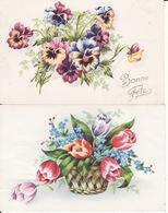 Ill Gougeon, 2  Cartes  Pensées Et Corbeille De Tulipes Et Myosotis, 2 Scans - Geburtstag