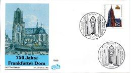 "BRD Schmuck-FDC ""750 Jahre Frankfurter Dom"" Mi. 1434 ESSt  10.8.1989 BONN 1 - FDC: Sobres"