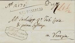 1875- LOMBARDO-VENETIE  - Enveloppe De SAN DANIELLO  Pour Venezia - Marcofilía