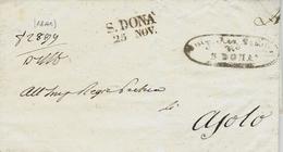 1841- LOMBARDO-VENETIE  - Lettre De S. DONA / 25  NOV  Pour Asolo - Marcophilia