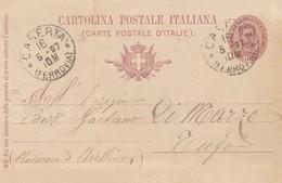 Caserta. 1897. Annullo Grande Cerchio CASERTA (FERROVIA), Su Cartolina Postale - 1878-00 Umberto I