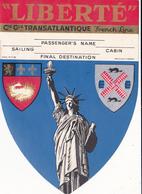 """""""LIBERTE""""-COMPAGNIE GENERALE TRANSATLANTIQUE-french Line-COLLANT BAGAGE - Bateaux"""