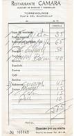 Factura Vieja Del Restaurante Camara, Playa Del Bajondillo, Torremolinos, (7/1973) - Spain