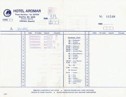 Factura Vieja Del Hotel Aromar, Paseo Maritima, Playa De Aro (22/8/1974) - Spain