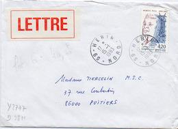 France N° 2777 Y. Et T. Nord Herin Cachet Type A9 Du 15/01/1993 Sur Lettre - Marcophilie (Lettres)
