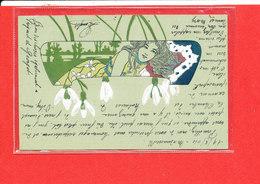Carte Ancienne Peinte Gauffrée Avec Femme      Edit B R W 415 - Femmes