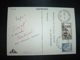 CP TP ST JEAN DE CASELLES 4F + BLASON 1F OBL. HOROPLAN 28-12 1949 ANDORRE LA VIEILLE VAL. D'ANDORRE + TONYL - Lettres & Documents