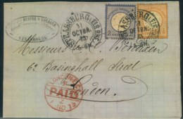 """1873, """"STRASSBURG I. ELS. BHF."""". Hufeisenstempel, Klarer Abschlag Auf  Vorderseite Nach London - Allemagne"""