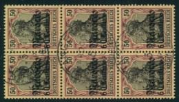 """1906, 60 C. Auf 50 Pfg. Germania, Aufdruck """"Marocco"""" Im 6-er-Block Gestempelt """"TANGER MAROCCO - Bureau: Maroc"""
