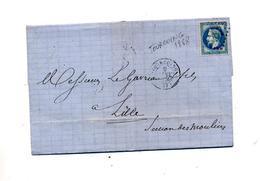 Lettre Cachet Losange Tourcoing Sur Napoleon + ? - 1849-1876: Periodo Classico