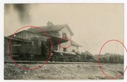 55 - HEUDICOURT Belle Et Rare Animation De La Gare Feldbahn Lokomotive Artillerie - Carte Photo Allemande  WWI 1.WK - Non Classés