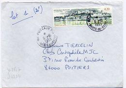 France N° 2817 Y. Et T. Hauts De Seine Puteaux Cachet Type A9 Du 06/10/1993 Sur Lettre - Marcophilie (Lettres)