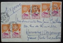 Strasbourg Gare 1961 Affranchissement Multiple Sur Lettre Pour Le Luxembourg - Storia Postale