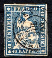 SUISSE - (Postes Fédérales) - 1854-62 - N° 27 - 10 R. Bleu - (Helvetia) - 1843-1852 Poste Federali E Cantonali