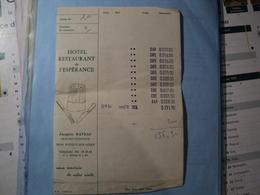 ADDITION DE L HOTEL RESTAURANT DE L ESPERANCE. 1976. NIEVRE. POUILLY SUR LOIRE - Levensmiddelen
