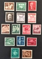 """1943 ,,Das Braune Band""""Mi.854*), Rosegger Mi.855-856*), Großer Preis Von Wien Mi.857-858*), Luftpostdienst Mi.866-868*) - Deutschland"""
