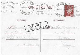 Entier Postal 1.20F Petain RETOUR CAUSE DE GUERRE - Postmark Collection (Covers)