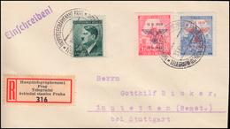 Böhmen Und Mähren 83-84 Aufdruck MiF R-LDC HAUPTTELEGRAPHENAMT PRAG 31.12.42 - Occupation 1938-45