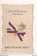 Carte Patriotique Gloire Aux Soldats Russes Avec Edeilweiss Naturel Porte Bonheur - Patriotic