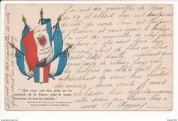 Carte Litho Patriotique Sauvez La France Coeur De Jésus Drapeau Révélation Bienheureuse Marguerite Marie Paray Le Monial - Patriotic