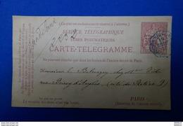 L34 FRANCE  CARTE PNEUMATIQUE TELEGRAMME 1901 PARIS - Télégraphes Et Téléphones