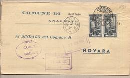 Italia - Dall'ufficio Anagrafe Del Comune Di Galliate (NO) Al Comune Di Novara - 1951 - 1946-.. République