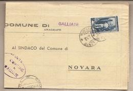Italia - Dall'ufficio Anagrafe Del Comune Di Galliate (NO) Al Comune Di Novara - 1952 - 1946-.. République