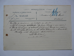 VIEUX PAPIERS - DOCUMENTS COMMERCIAUX : Memorandum - L? SALLE - CHATEAUDUN - Francia