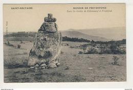 ## PEU COURANTE ## Carte De Saint Nectaire Le Menhir De Freydefond  ( Grottes De Châteauneuf  )( Recto Verso ) - Saint Nectaire