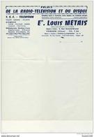 Facture  Palais De La Radio Télévision Et Du Disque Louis METAIS  à Vierzon  ( Recto Verso ) - Non Classés
