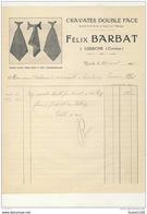 Facture Illustrée Cravates Double Face ( Breveté ) Félix BARBAT à Uzerche ( Corrèze 19 ) 1923 ( Recto Verso ) - Vestiario & Tessile