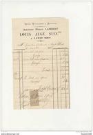 Facture Vins Vinaigres Alcools ( Anc. Maison LAMBERT ) Louis AUGE à VATAN  ( 36 Indre )( Recto Verso ) - 1900 – 1949