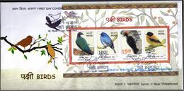 INDIA 2016 Birds, Near Threatened, Miniature FDC - FDC