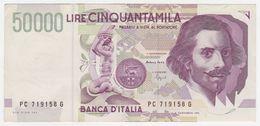 Italy P 116 B - 50.000 Lire 27.5.1992 - VF - [ 2] 1946-… : Repubblica
