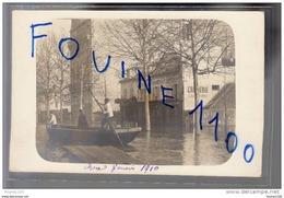 Carte Photo De Boulogne Sur Seine Au Rond Point ( Crue Janvier 1910 ) Vins Restaurant Crémerie épicerie Haulard Doucet - Boulogne Billancourt