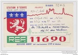 Carte Qsl Ref 11690 En Portable à Menetreuil Dep 71 Vers Louhans ( Desvignes Robert 107 Rue Laënnec à Lyon Recto Verso ) - QSL Cards