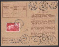 Carte D'Abonnement Aux émissions De Timbres Poste Avec 100F Rose Carmin Marianne De GANDON Oblt CàDate Type A4 TOURS REC - Marcophilie (Lettres)