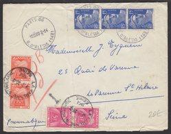Enveloppe Par PNEUMATIQUE Avec 15F Marianne De GANDON Bleu X3 Oblt CàDate Horoplan PARIS 66 R. D'ALESIA (14°), Taxé à 30 - Marcophilie (Lettres)