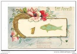 Carte Fantaisie Gaufrée  Poisson D' Avril  Fer à Cheval  ( Recto Verso ) - 1er Avril - Poisson D'avril